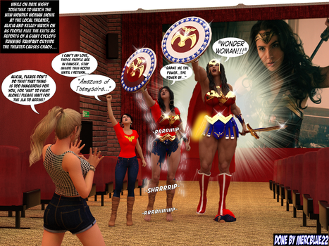 Alicia becomes Wonder Woman in Movie Theater TF by mercblue22
