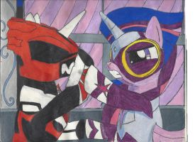 Twilight vs Psycho Red by DarkAlicornWarrior