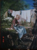 Old woman sewing by mhairya