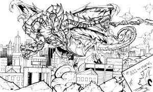 King Ghidorah Inked by TheEndofOurLives