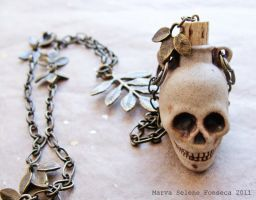 33' Skull Poison Bottle Necklace by marva78