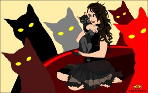 Surrounded By Cats featuring Mihaela-VStock by KingsTailor