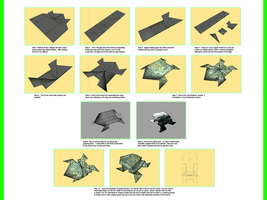 Process of a 3D Origami Frog by MastaAzumarek