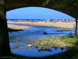 Espasa beach behind the bridge by Jorapache
