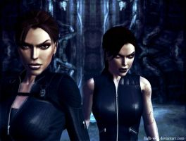 Lara and Doppelganger Croft 02 by Halli-well