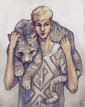 kris and his tiger by genicecream