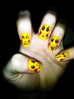 Pikachu Emotions Nails by Chelseapoops