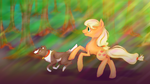 Applejack and Winona - A Girl and Her Dog by Alouncara