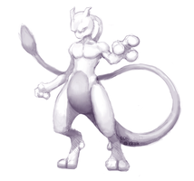 Pseudorealistic Mewtwo. by Lorniepoo
