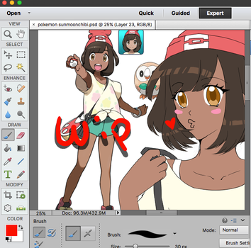 WIP of pokemon sun and moon trainer by Kitnami