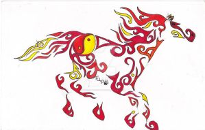Tribal-flaming Yin-yang Horse by Forest-Quick-Paw