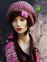 Pink and brown slouch with button cowl scarf by LittleShopOfLostArts