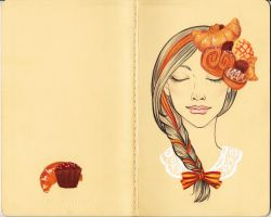 Journal commission - Croissant and Chocolates by LaraInPink