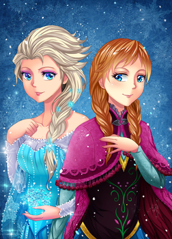 elsa and anna - frozen by gin-1994