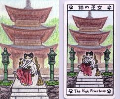 High Priestess maneki tarot by crokittycats