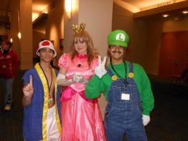 Toad, Peach, and Luigi by kcjedi89