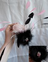 Pink and black rose fascinator by fairyfrog