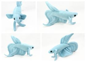 Updated Royal Blue Veil Tail Betta Fish Plush by BeeZee-Art
