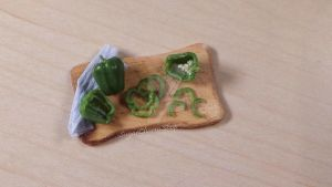 Green miniature bell pepper - polymer clay by sugarcharmshop