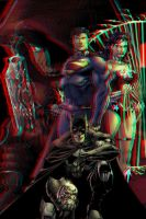 Superman, Batman and WW in 3D Anaglyph by xmancyclops