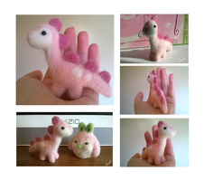 [Open!] OTA Needle Felted Pink Dinosaur by Sarilain