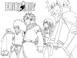 Fairy Tail's Strongest Team - Lineart by lamoco-13