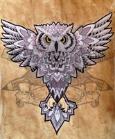 Tea Stained Owl Commission by paperfoxes