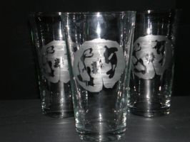 Koi and Lilypad Etched glass by saaio