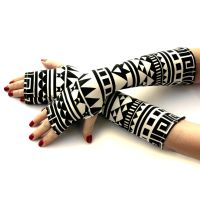 Black and White Tribal Fingerless Gloves by WearMeUp