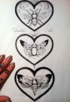 Insects in heart frame by LadySayuri
