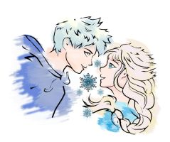 Elsa and Jack Frost by doodlemarker