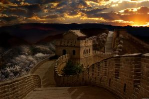 Great Wall at Sunset by elemare
