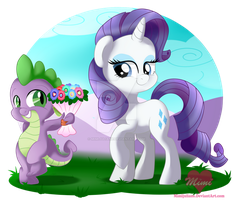 Spike and Rarity by mimijuliane