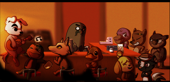 Animal Crossing-Evening at the Coffee House by Kitchiki