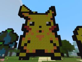 Minecraft Art: Pikachu by 04porteb