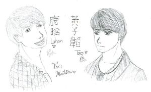 AT-Sketchy Luhan and Tao by pumpkincookie