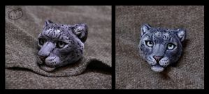 WIP snow leopard head by LisaToms