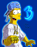 Bart Simpson hip hop, poster Young B-Zay - 2007 by Simpsonizer