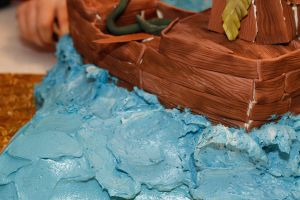 Pirate Ship Cake - waves by hobbitchef