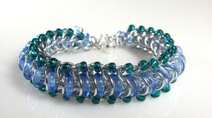 Glass Caterpillar: Chainmaille, Czech press glass by HowiesDesigns