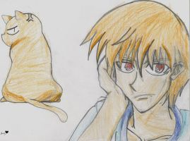 kyo and his cat form:aww: by Kami-Jazzu
