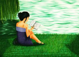 Reading by the Riverside by TomieDaisuke