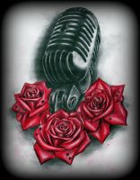 old microphone and roses tattoo design by CalebSlabzzzGraham