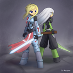 Commission Crusader and Ninja by HowXu