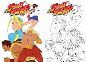 Street Fighter Lines and flats by darkeyez07