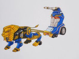 ZEO MEGAZORD revisited: blue and pink by kishiaku