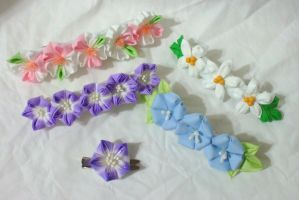 long kanzashi barrettes by EruwaedhielElleth