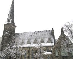 A Snowy Church Downtown by musicsuperspaz