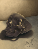 Anatomy painting - Skull by DevilsHaven