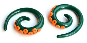 Tentacle Gauges in Orange and Green 002 by Dabstar
